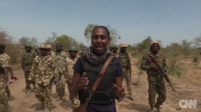 CNN reporter Nima Elbagir VISITS scene where the chibok girls were taken to after abduction,sambisa forest in borno state