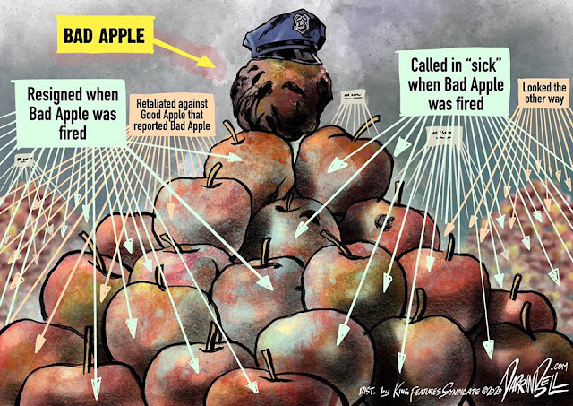 Mount of apples.  On top, an apple in a police cap labeled
