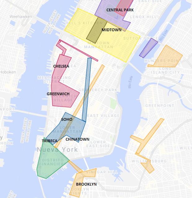 donde está chinatown, soho, tribeca en Nueva York