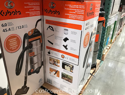Kubota 12 Gallon Wet/Dry Stainless Steel Vacuum: great for even your garage or workshop