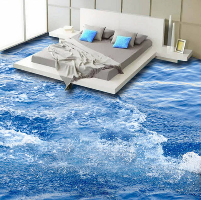 lantai tiga dimensi desain kamar tidur tema air kebanjiran