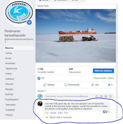 """Leo van Toly kirjoitti Facebookiin: """"Good day sir, very nice picture! I am on board this vessel at the moment as the captain. Would it be possible to receive the picture in full quality? Many thanks in advance!""""."""
