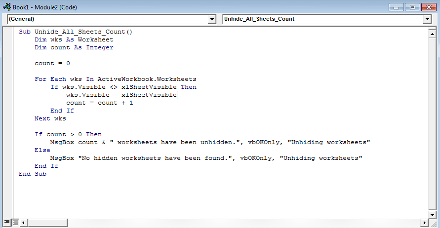 vba code to view all hidden sheets at once
