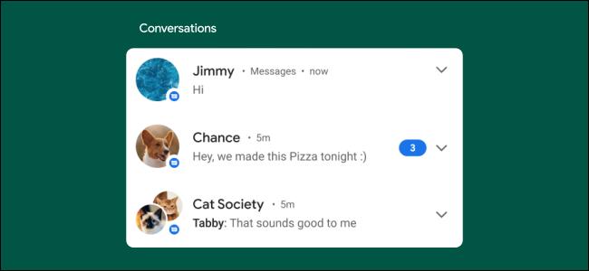 android 11 المحادثات لقطة شاشة