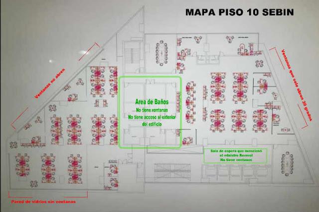 Y ENTONCES, TAREK? Periodista muestra más detalles del plano del piso 10 del Sebin (el baño no tiene ventanas)
