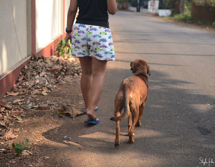 Image of a woman wearing printed shorts going for a walk with a brown dog in Goa