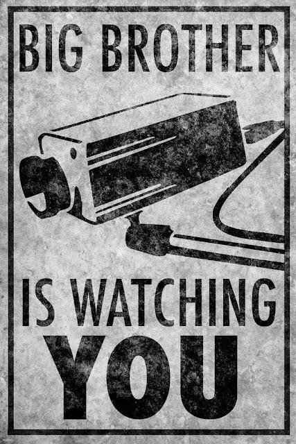 Ilustração com os dizeres: O Grande Irmão está assistindo você, em uma referência à obra 1984 de George Orwell.