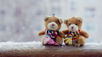 Teddy-Bear-Couple-in-winter-Backgound