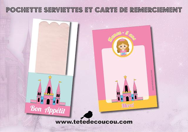 carte remerciement Kit anniversaire personnalisé princesse fille rose à imprimer tête de coucou