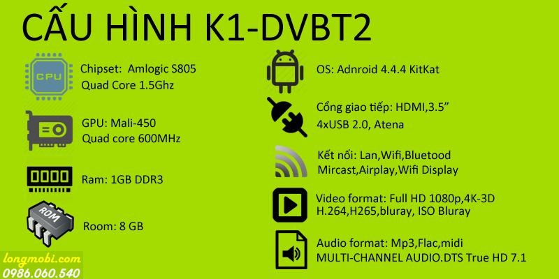 Cấuhình chi tiết Android K1-DVBT2