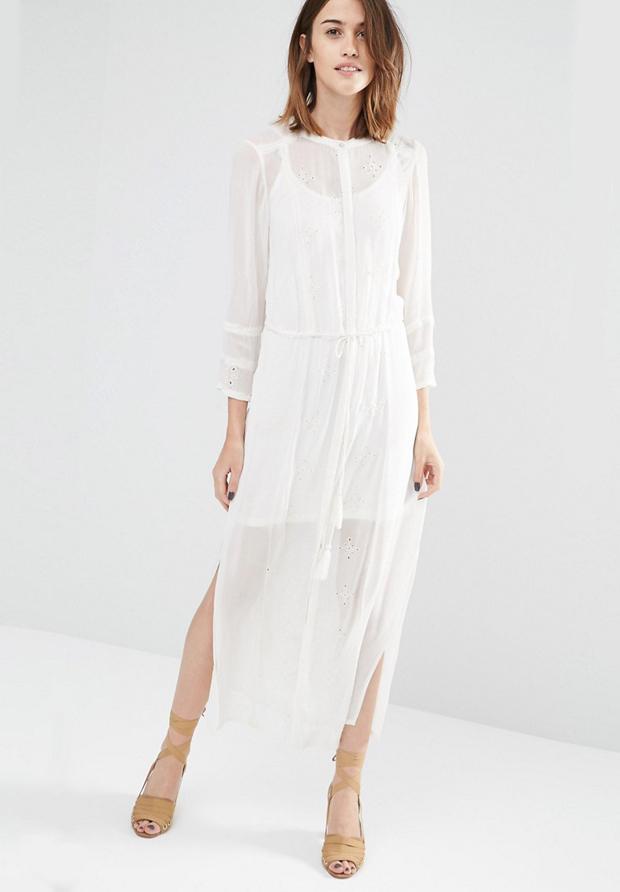 Vestidp estilo romántico blanco de asos