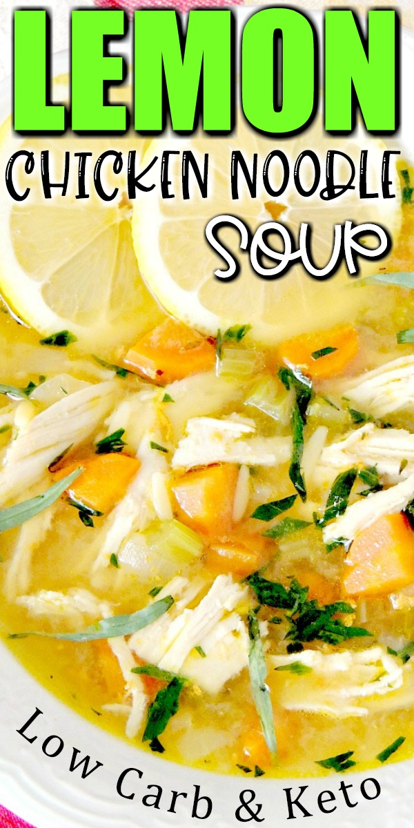 This Low-Carb Lemon Chicken Noodle Soup recipe is light and bright with less than 3 net carbs per serving! #chicken #soup #Greek #lowcarb #keto #easy #recipe | bobbiskozykitchen.com