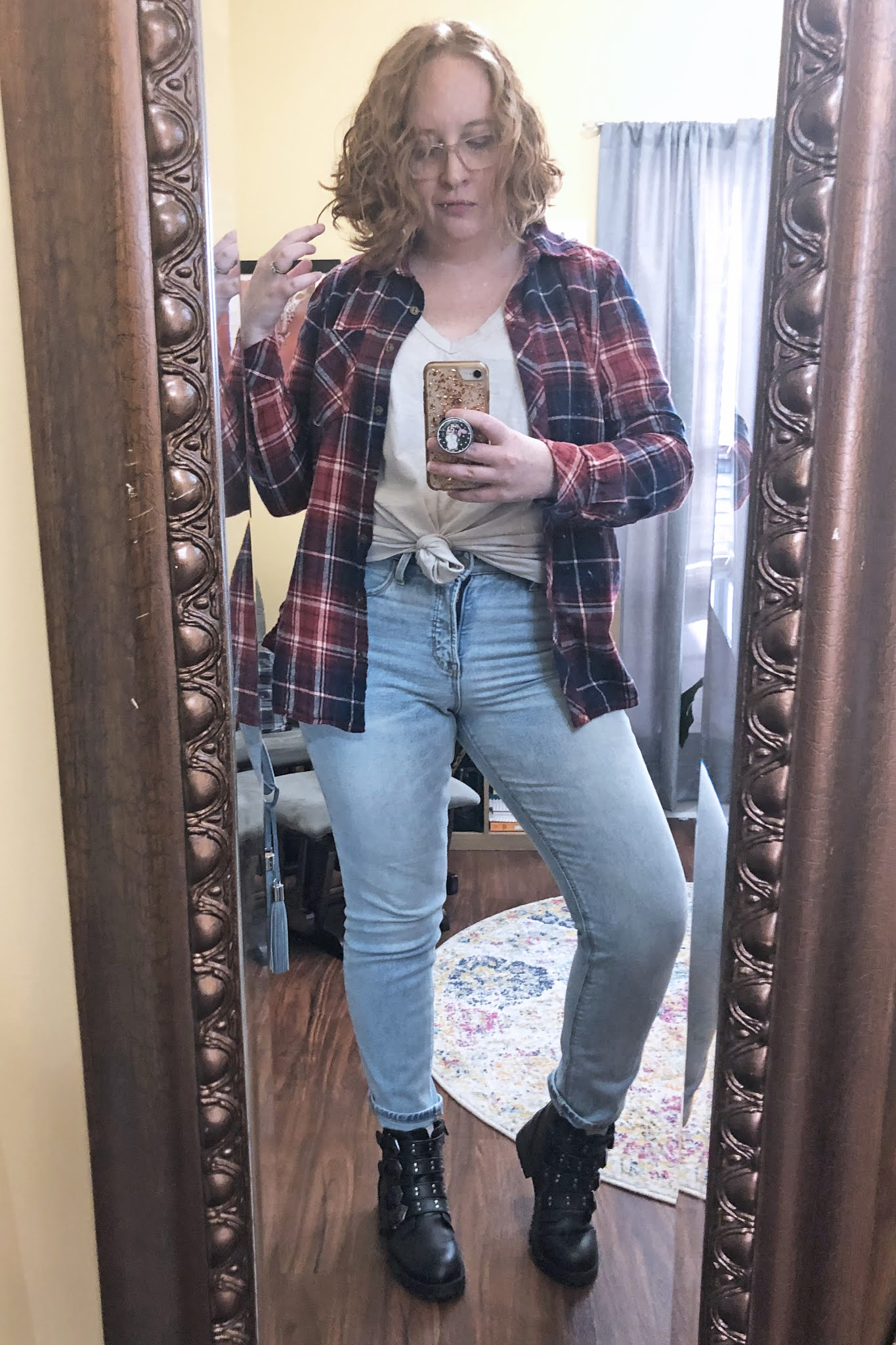 plaid_button_down_knotted_tee_mom_jeans_moto_boots