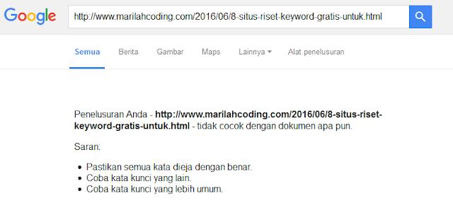 artikel tidak terindex di google karena sitemap atau peta situs