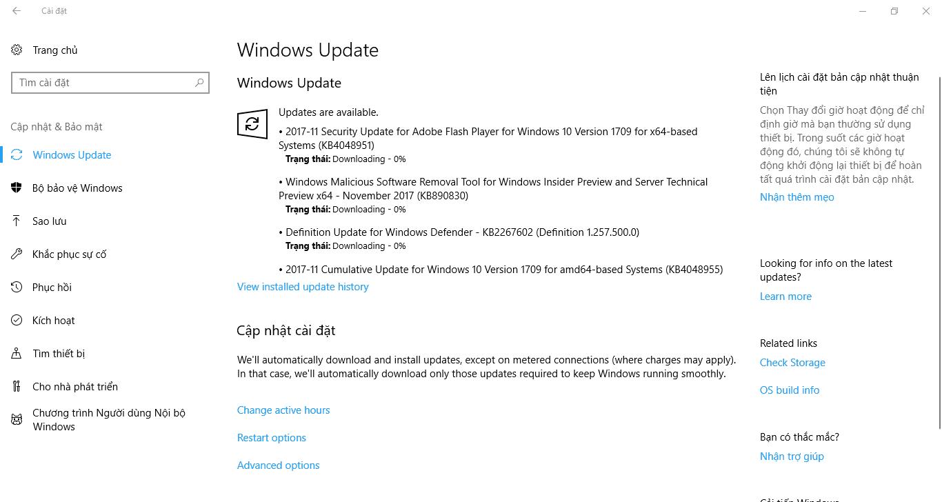 Cập nhật 14 tháng 11, 2017 - KB4048955 cho Windows 10 Phiên bản 1709 (OS Build 16299.64)