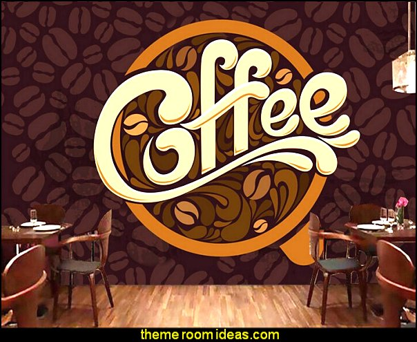 Decorating theme bedrooms maries manor coffee theme for Cafe mural wallpaper