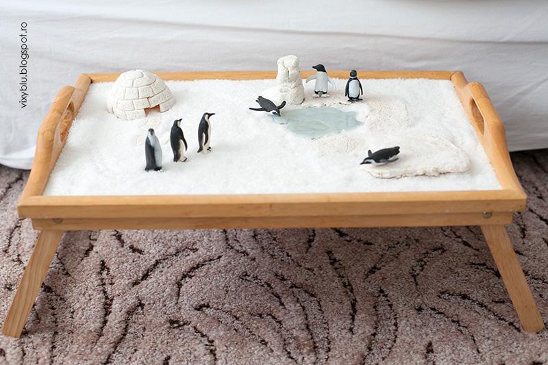 tava senzoriala, habitat popul sud, diorama, pinguini, figurine polare, antarctica
