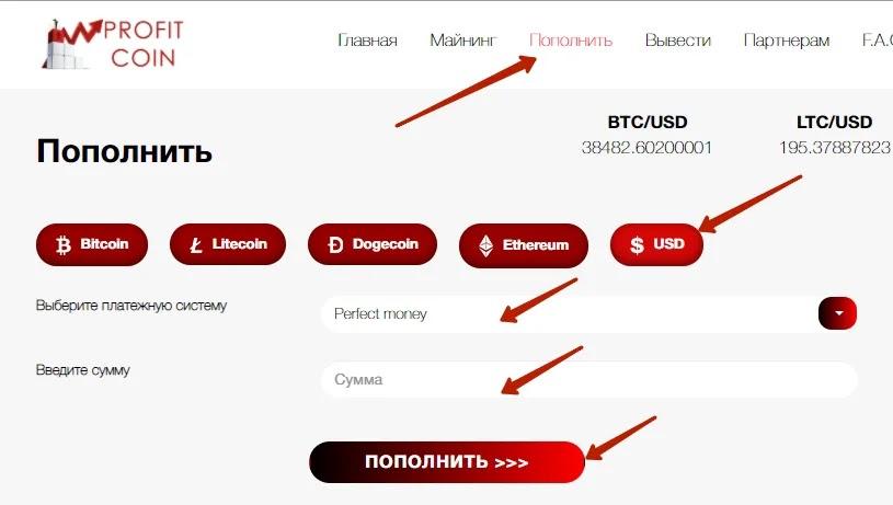 Пополнение баланса в ProfitCoin