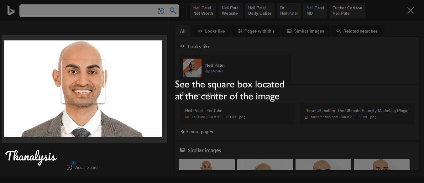 Square box over the Neil Patel's face at the center of his image.