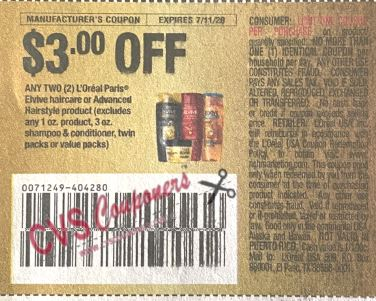 "$3.00/2-L'Oreal Paris Elvive Hair Care or Advanced Hairstyle product Coupon from ""RetailMeNot"" insert week of 6/28/20."