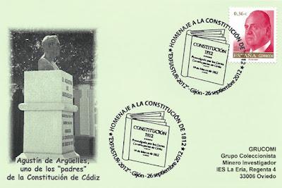 tarjeta, matasellos, Constitución, 1812, Gijón
