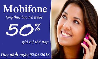 Ngày 2/3/2016 Mobifone khuyến mãi 50% thẻ nạp