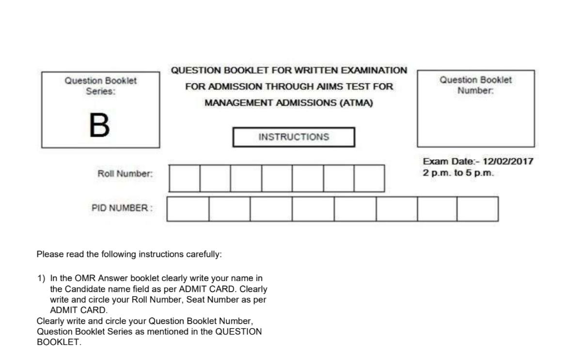 ATMA question paper