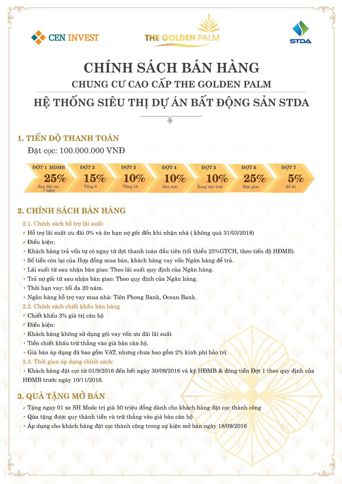 Chính sách bán hàng dự án chung cư The Golden Palm