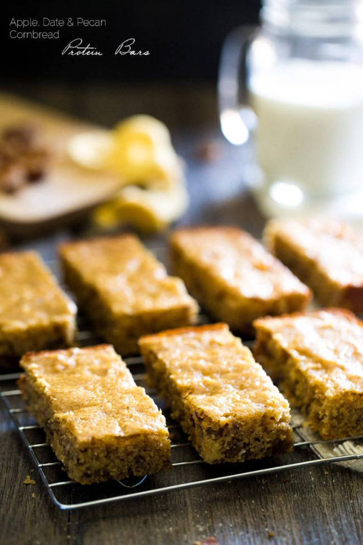 apple date pecan cornbread protein bars plus 30 Real Food Gluten Free Recipes to Fuel Your Next Run or Workout! Natural energy to fuel you for a run or even sustain you after!