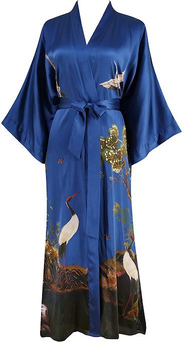 Long Satin and Silk Kimono Robes For Women
