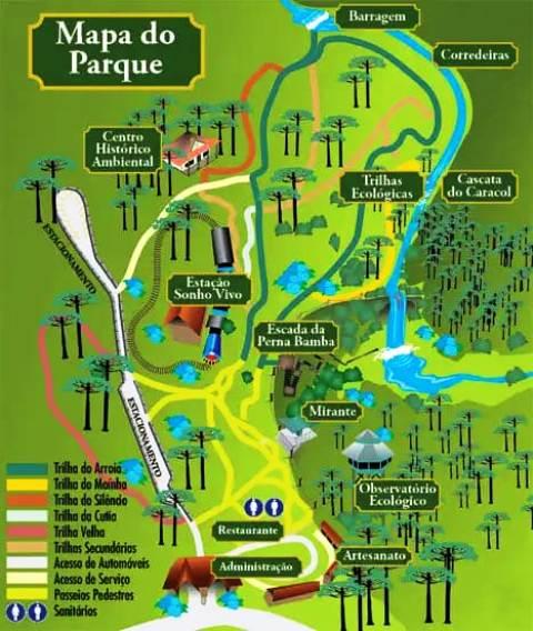 Mapa do Parque do Caracol, em Canela, nas Serras Gaúchas
