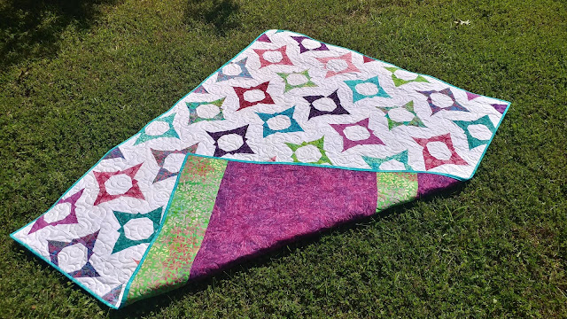 Improv star quilt using Island Batik fabrics and Aurifil thread