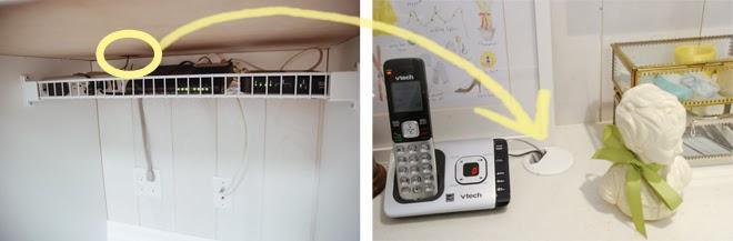 shelf to hold computer wires, desk grommet