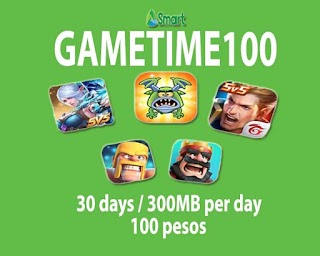Smart GameTime 100 or GAME100 – 300MB data per Day for 30 days