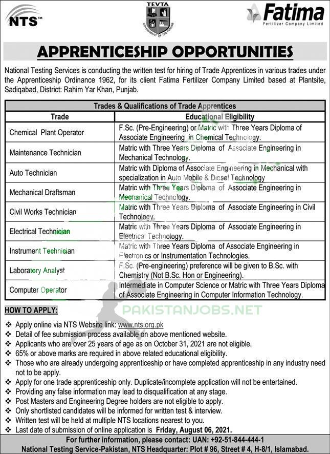 Training Program Fatima Fertilizer Internship In Pakistan 2021