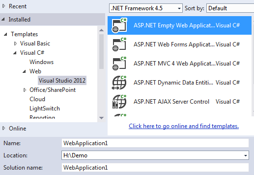 Creating asp.net 4.5 empty project