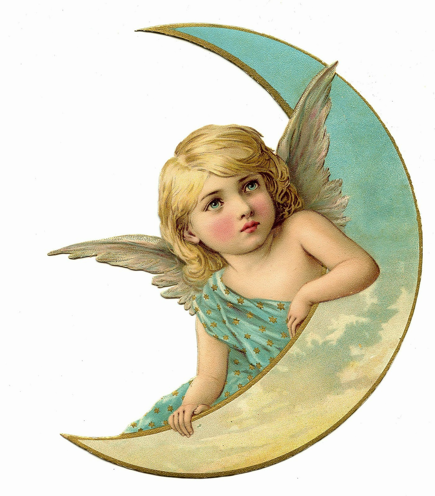 An angel leaning on a crescent moon