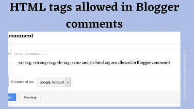 HTML tags allowed in Blogger comments