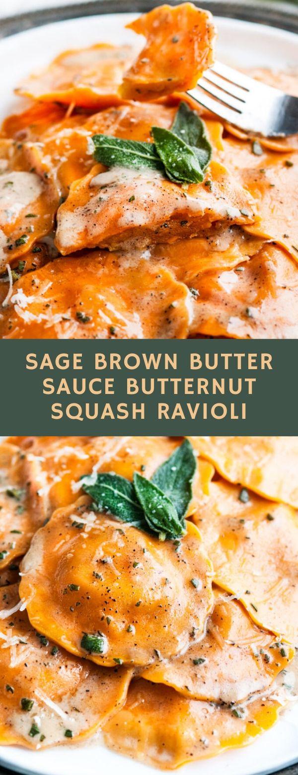 SAGE BROWN BUTTER SAUCE BUTTERNUT SQUASH RAVIOLI