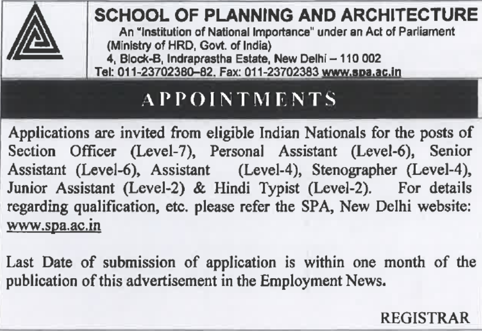 SPA Delhi Recruitment 2019 - Government Jobs for Assistant, Section