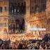 Η Αγία Σοφία κατά τη διάρκεια Θείας Λειτουργίας. Ο πίνακας ντοκουμέντο του Φοσσάτι, που αποτύπωσε όλα τα ψηφιδωτά και τον «Eξαπτέρυγο Aγγελο» πριν καλυφθούν με γύψο...