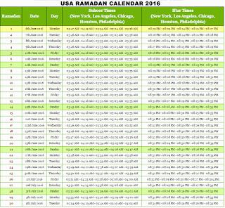 USA Ramadan Kareem 2016 Calendar