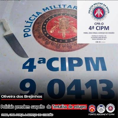 Oliveira dos Brejinhos/BA: Individuo é preso por tentativa de estupro e Invasão a domicílio