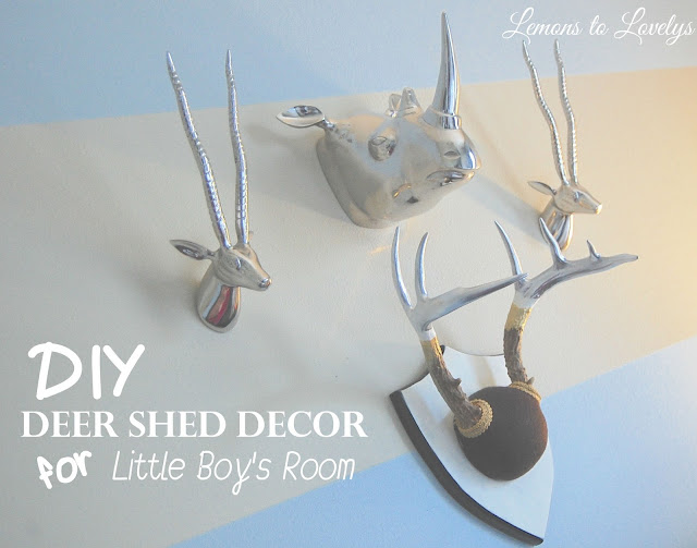 DIY deer antler decor- www.lemonstolovelys.blogspot.com