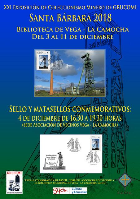 cartel, mina, Grucomi, exposición, filatelia, matasellos, sello, La Camocha