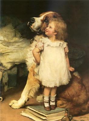 Девочка с сенбернаром картина Charles Burton Barber