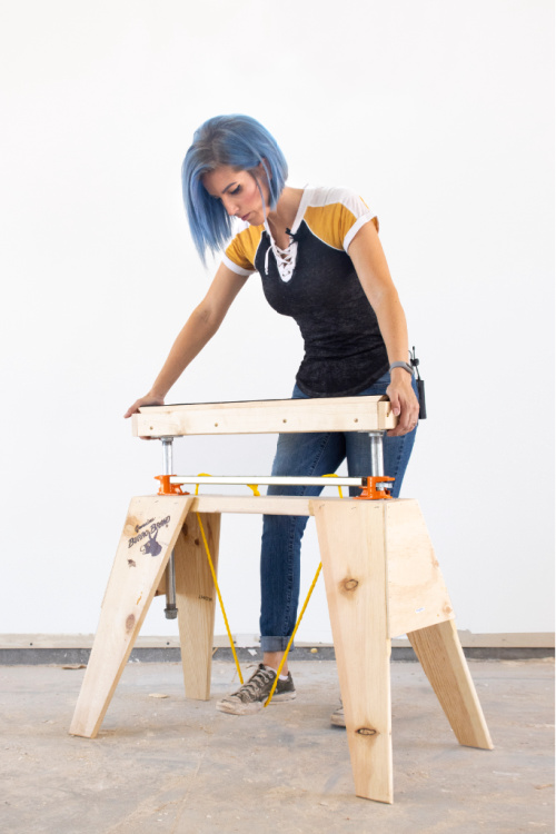 How to convert a simple sawhorse into the ULTIMATE adjustable height interchangeable workstation using FREE building plans