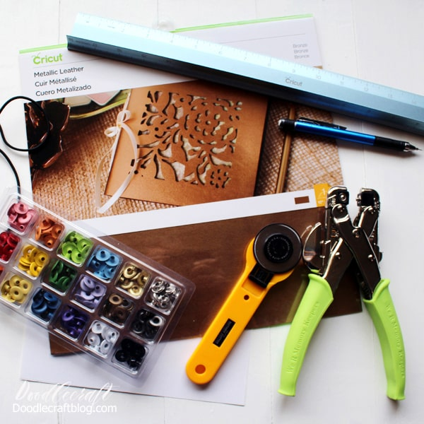 Supplies needed to make a refillable leather journal