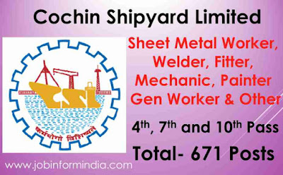 Cochin Shipyard Assistant Recruitment 2019 For 671 Vacant Posts