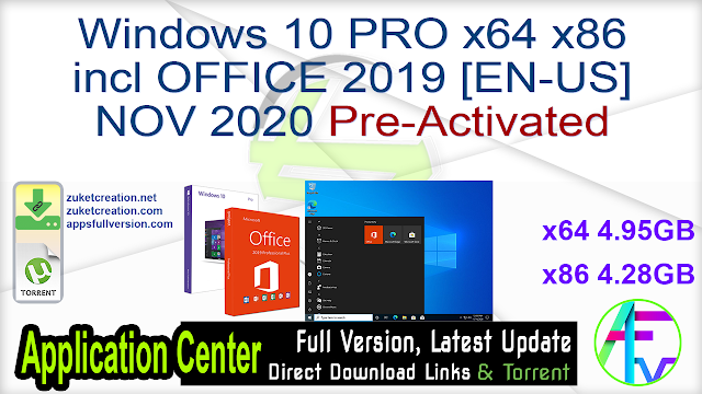 Windows 10 PRO x64 x86 incl OFFICE 2019 [EN-US] NOV 2020 Pre-Activated